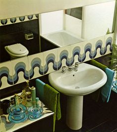 Bathroom design from 'Interiors for Today' by Franco Magnani, 1974