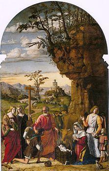 Cima da conegliano, adorazione dei pastori-La Natività con santi è un dipinto olio su tavola (300x185 cm) di Cima da Conegliano, databile al 1509 e conservata presso la chiesa di Santa Maria dei Carmini a Venezia.