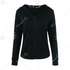 Spider Web Print Hoodie, BLACK, M in Sweatshirts & Hoodies | DressLily.com