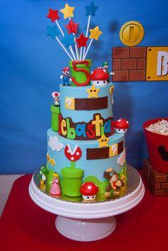 Tatiana B's Birthday / Super Mario - Photo Gallery at Catch My Party Bolo Super Mario, Super Mario Birthday, Mario Birthday Party, Super Mario Party, Boy Birthday Parties, Birthday Fun, Birthday Ideas, Luigi Cake, Mario Bros Cake