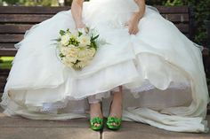 These green shoes and bouquet were the perfect accent for each other @greenweddingshoes#weddingphotography #pixologyphotography #weddingshoes #bridalshoes #realweddings #lehighvalleyweddings #elegantwedding #weddinginspiration