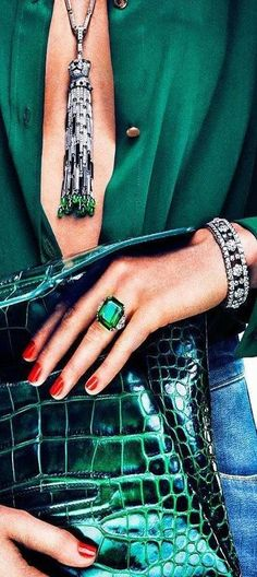 Cartier--That emerald green looks like MONEY! Mode Glamour, Mode Shoes, Green Fashion, Diamond Are A Girls Best Friend, Shades Of Green, My Favorite Color, Fashion Accessories, Bling, Fancy