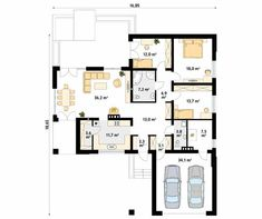 Ambrozja parterowy dom z nowoczesną elewacją i dużym tarasem - Jesteśmy AUTOREM - DOMY w Stylu House Plans Mansion, Dream House Plans, Modern House Plans, Modern House Design, One Storey House, Home Fashion, Floor Plans, 1, How To Plan