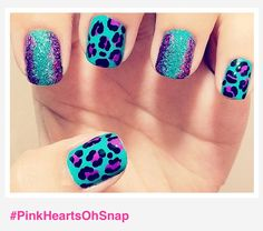 Teal & Purple Cheetah with Glitter