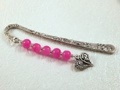 Handmade Pink round beaded bookmark  Heart by DiamondsJewelryDream