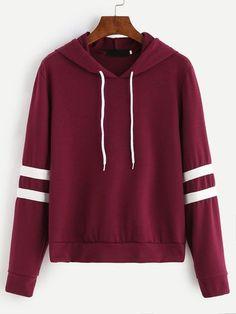 Burgundy Varsity Striped Drawstring Hooded Sweatshirt Mobile Site