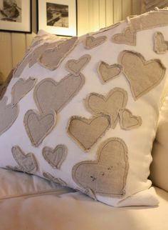 a thousand hearts~{pillow DIY} looks cute with red or red print hearts; use napkins or whatever