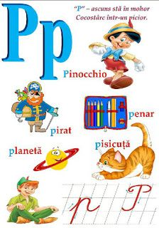 Creionasul cel istet si prietenii: Alfabetul (cu ilustratii) COD 04 Pinocchio, English Phonics, Learning The Alphabet, Classroom Door, School Lessons, English Lessons, Kids Education, Kids And Parenting, Preschool