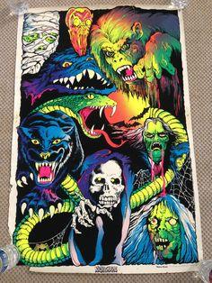 Nightmare Vintage Black Light Poster Flocked Velvet Monsters 1970's poster