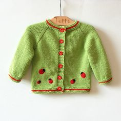 Knitting Patterns combine Light green baby swetaer with red ladybug knitted merino girls jacket MADE TO ORDER SALE Pink strawberry scarf for little Lady hand knit by MiaPiccina This item is unavailable Grey and white baby cardigan no pattern just a sugges Knitting Baby Girl, Knitting For Kids, Crochet Baby, Hand Knitting, Baby Girl Cardigans, Baby Girl Jackets, Baby Sweaters, Knitted Owl, Knitted Baby Cardigan