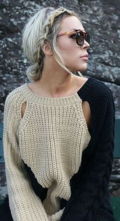 braid + chunky sweater