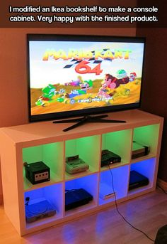 Funny pictures about Console Cabinet. Oh, and cool pics about Console Cabinet. Also, Console Cabinet. Unique Man Cave Ideas, Bedroom Ideas For Men Man Caves, Man Cave Ideas Gamer, Video Game Storage, Video Game Organization, Diy Organization, Video Game Shelf, Renovation Design, Led Shop
