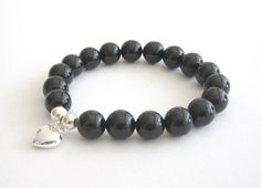 Puffy Heart Sterling Silver Charm Onyx Base Chakra Bracelet Handcrafted Gemstone Chakra Jewelry Protection Strength Stretch Yoga Power Mala - pinned by pin4etsy.com
