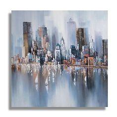 Peint à la main peinture à l'huile abstraite moderne avec cadre étiré prêt à accrocher - EUR € 60.81