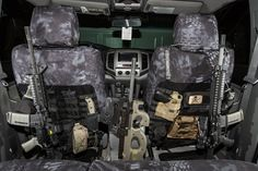 Bugout vehicle interior.  Kryptek covers by King's Arsenal