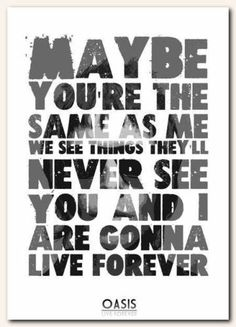 OASIS-Live-Forever-song-lyric-poster-typography-art-print-4-sizes
