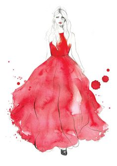 Fashion illustration - red gown, fashion drawing // Sarah Hankinson.   TG