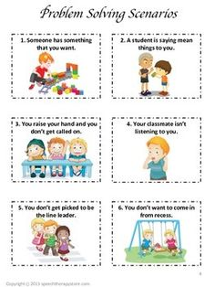 Speech Therapy Problem Solving Scenarios and Graphic Organizer {FREE! Social Skills Lessons, Teaching Social Skills, Social Emotional Learning, Teaching Art, Life Skills, Art Lessons, Teaching Resources, Counseling Activities, Speech Therapy Activities
