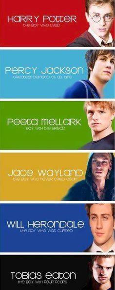 Harry Potter - Percy Jackson - Peeta Mellark - Jace Wayland - Tobias Eaton