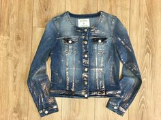 neckless denim jacket, copper foil washed out, www.unionmill.com jeans and woven garment supplier in Shanghai