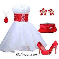 White Dress w/ Red Accessories❥ Sweet 16 Dresses, Pretty Dresses, Beautiful Dresses, Short Dresses, Prom Dresses, Formal Dresses, Wedding Dresses, Bridesmaid Dresses, Dress Skirt