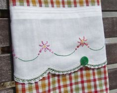 Vintage Recycled Pillowcase to Upcycled Basket by TwoGirlsLaughing