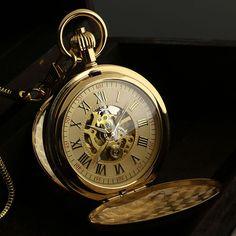 Golden Vintage Man s Skeleton Engraved Wind Up Mechanical Men Chain Pocket Watch