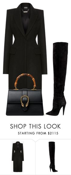 """""""Untitled #2392"""" by cheechchonghigh ❤ liked on Polyvore featuring Alexander McQueen, Yves Saint Laurent and Gucci"""