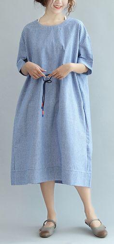 blue white striped sundress cotton plus size casual summer dresses bracelet sleeve maxi dress