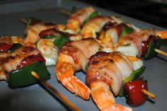 shrimp skewers with cheese jalapeno bacon pablano peppadew maple syrup