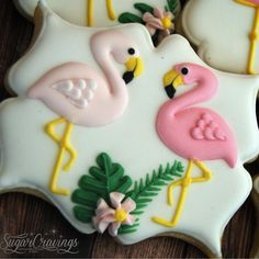 """208 Likes, 3 Comments - sugar cravings (@sugarcravings) on Instagram: """"One of four designs created for Katie's flamingo-themed shower. #sugarcravings #customcookies…"""""""