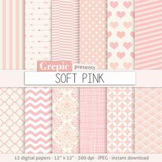 Rose papier numérique: « SOFT PINK » papier numérique rose clair avec chevron girly polkadots, rayures, points, flèches, Damas, quadrilobe, hearts