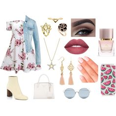 A fashion look from February 2018 featuring pink floral dress, blue denim jacket and chloe booties. Browse and shop related looks. Tiana, Burberry, Kate Spade, Touch, Shoe Bag, Elegant, Polyvore, Stuff To Buy, Accessories