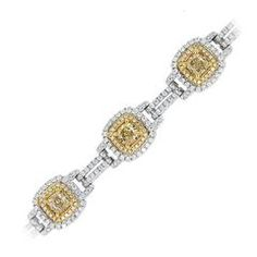 18k Two Tone 6.89ct Fancy Yellow Cushion Cut Diamond Bracelet