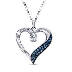 1/6 CT Enhanced Blue and White Natural Diamond Heart Pendant in Sterling Silver by JewelryHub on Opensky