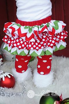 Red and green chevron Christmas winter all by amysbuttonsandbows, $45.00