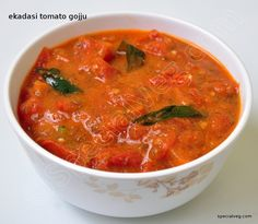 Ekadasi Tomato Gojju | Special Veg Chutneys, Curries, Vegetable Dishes, Spreads, Thai Red Curry, Pickles, Dips, Vegetables, Ethnic Recipes
