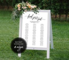Editable PDF Seating Chart Calligraphic Wedding Seating Chart