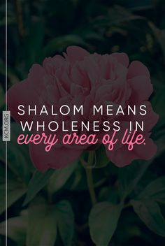 Shalom means wholeness!