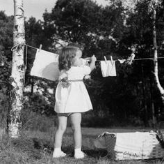 Just hanging up my dollies clothes to dry....photo from 1949.