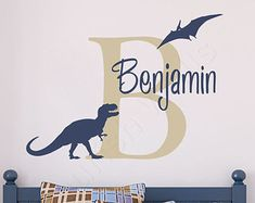 Boys Name Decal - Personalized Dinosaur Wall Decal - Tyrannosaurus Rex and Pterodactyl - Baby Boys Room T Rex Vinyl Wall Decal BN037