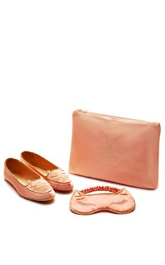Shop Cat Nap Silk-Satin Slippers and Eye Mask in Blush by Charlotte Olympia Now Available on Moda Operandi