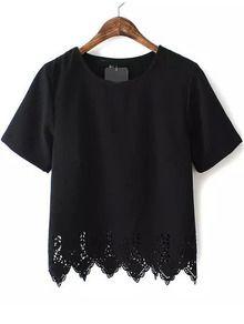 Black Short Sleeve Lace Hem Chiffon T-Shirt