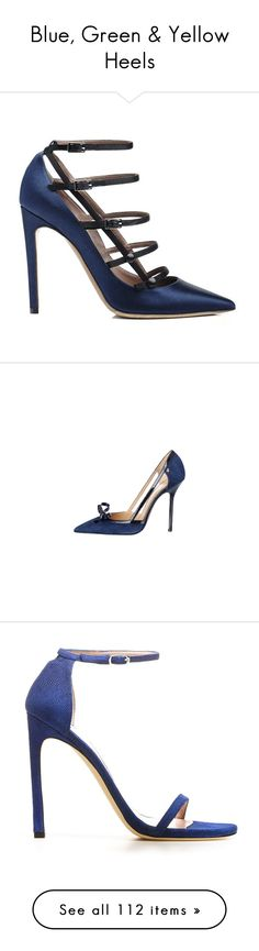 """Blue, Green & Yellow Heels"" by sakuragirl ❤ liked on Polyvore featuring shoes, heels, pumps, shoes - heel, ultramar goose bump nappa, stiletto pumps, stuart weitzman pumps, ankle strap pumps, ankle strap high heel pumps and heels stilettos"