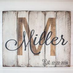 Last name, initial & est. date on reclaimed pallet wood board.  Size: Item measures 24x20  Colors: Background is antique white Lettering is