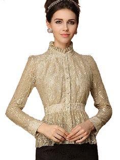 Elegant Stand Collar Tight Waist Long Sleeve Lace Shirt
