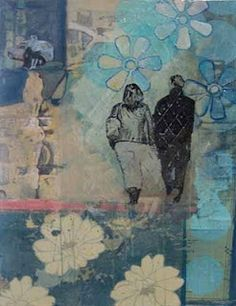 I would love to help support local artists like this one in my shop. This is a mixed media piece by Marjolyn Van der Hart. If you look closely enough, you'll see that she has all kinds of different papers in this piece.  I love the ones with music in them.