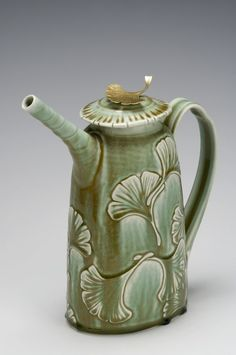 Carved Gingko Porcelain Teapot with Brass leaf handle by David Voorhees