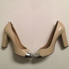 Gorgeous J. Crew Heels In amazing condition these heels are perfect for any outfit! Silver toe part and beige heels. Minimal minor wear. Size 8 J. Crew Shoes Heels