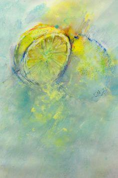 Gesso wash, crayon ink & pastel pencil: lemons: Splashingpaintblog.com